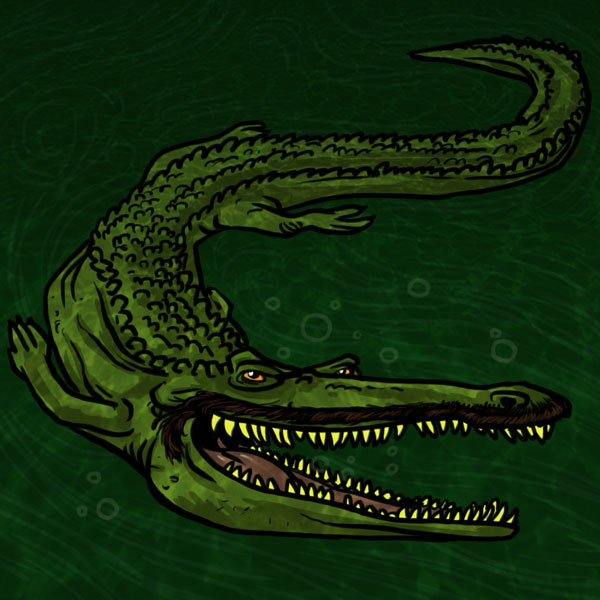 1970s crocodile illustration