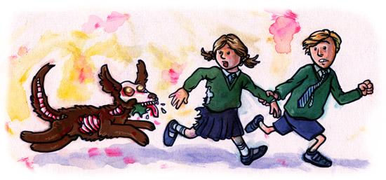 illustration of zombie dog chasing kids