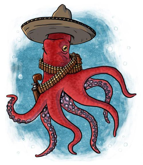 a gunslinging cephalopod